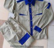 Quần áo bảo hộ vải kaki phối màu
